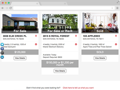 show listings of your houses for sale or for rent